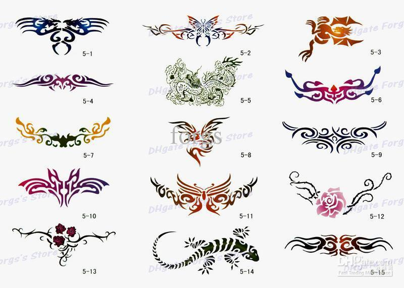 Various Airbrush Tattoo Stencils