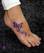 Ribbon on Feet Tattoos