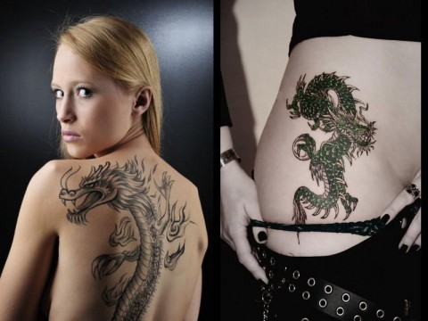 Awesome Girl Dragon Tattoo