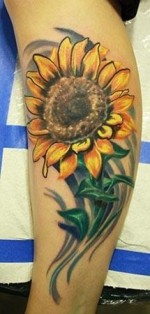 Realistic Sunflower Tattoo