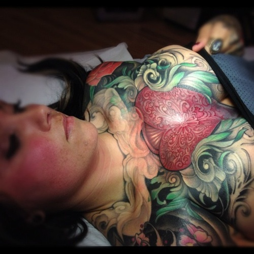 Complicated Tattoo On Breast